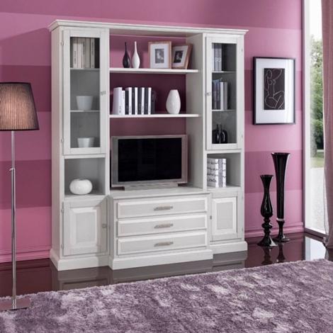 Mobile soggiorno in legno stile classico in decap bianco for Mobile soggiorno classico bianco