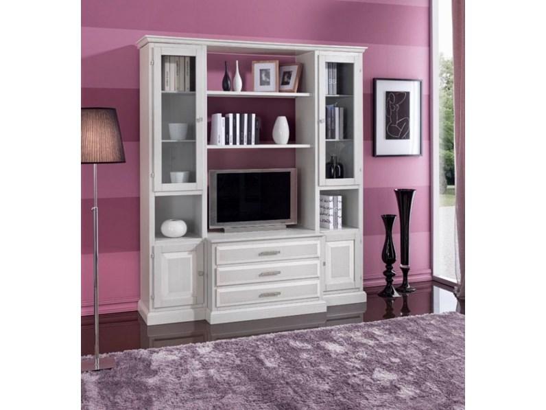 Mobile soggiorno in legno stile classico in decapè bianco