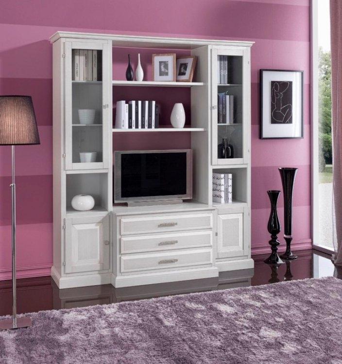 Mobile soggiorno in legno stile classico in decapè bianco ...