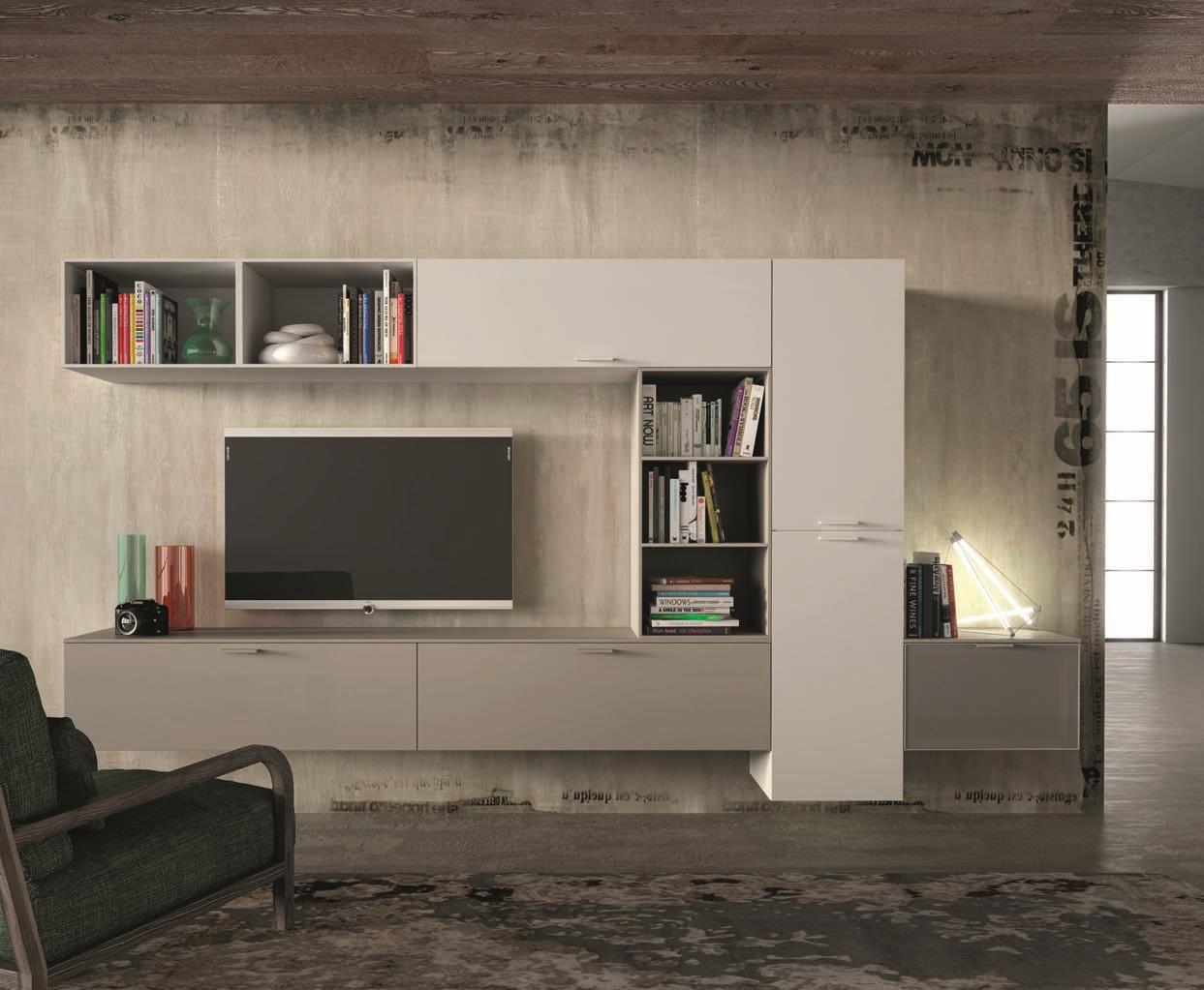San michele soggiorno sole laccato opaco porta tv design for Mobile da soggiorno moderno