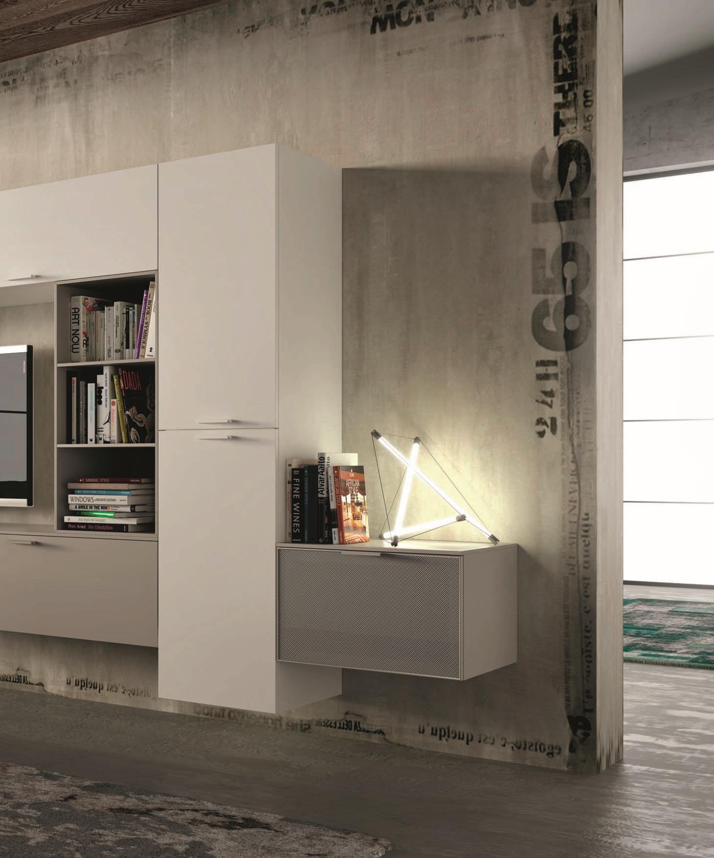 san michele soggiorno sole laccato opaco porta tv design ... - Soggiorno Moderno Sospeso 2