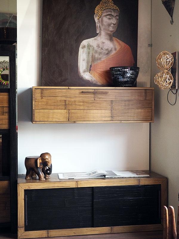 mobile soggiorno portatv moderno etnico in legnoe crash bambu ... - Idee Arredamento Soggiorno Etnico 2