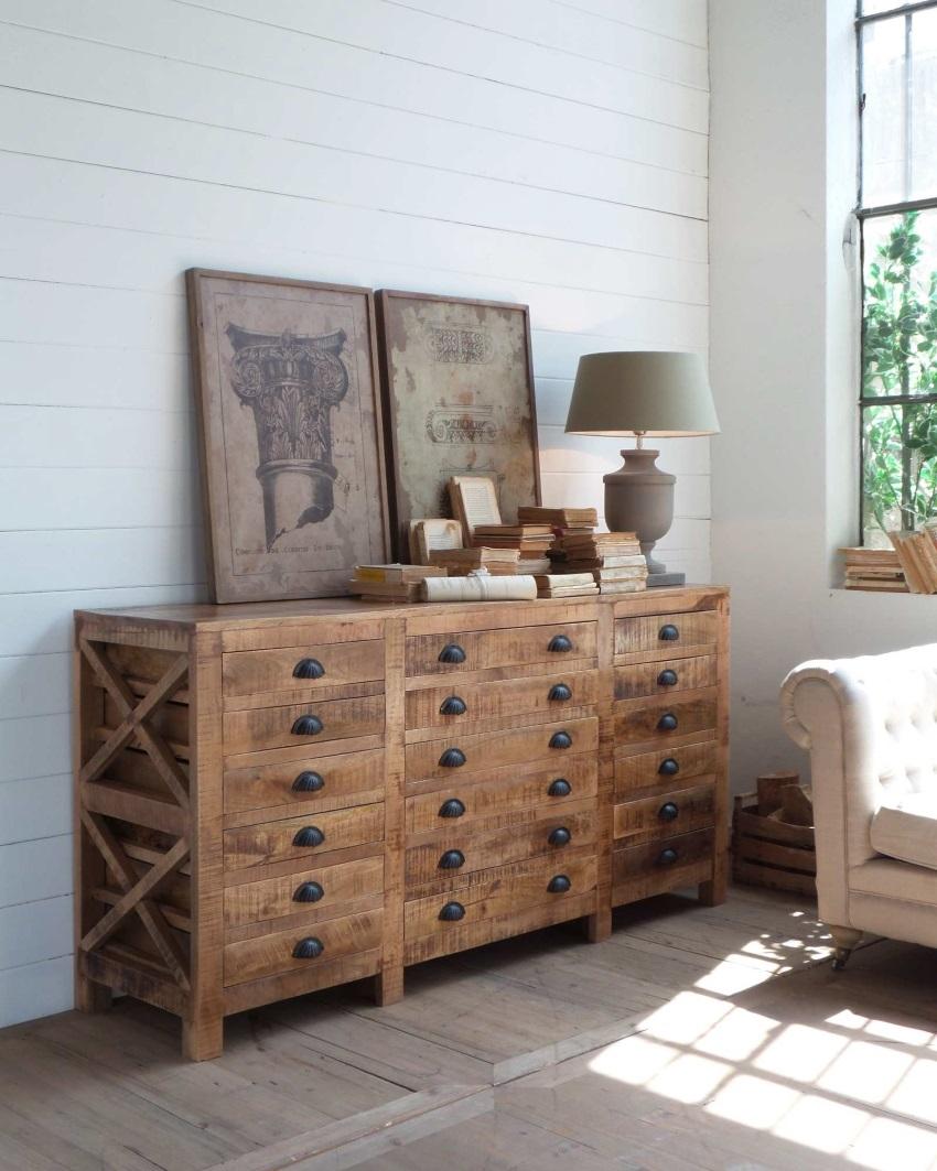 mobile vintage natural 18 cassetti in legno in offerta outlet soggiorni a prezzi scontati. Black Bedroom Furniture Sets. Home Design Ideas