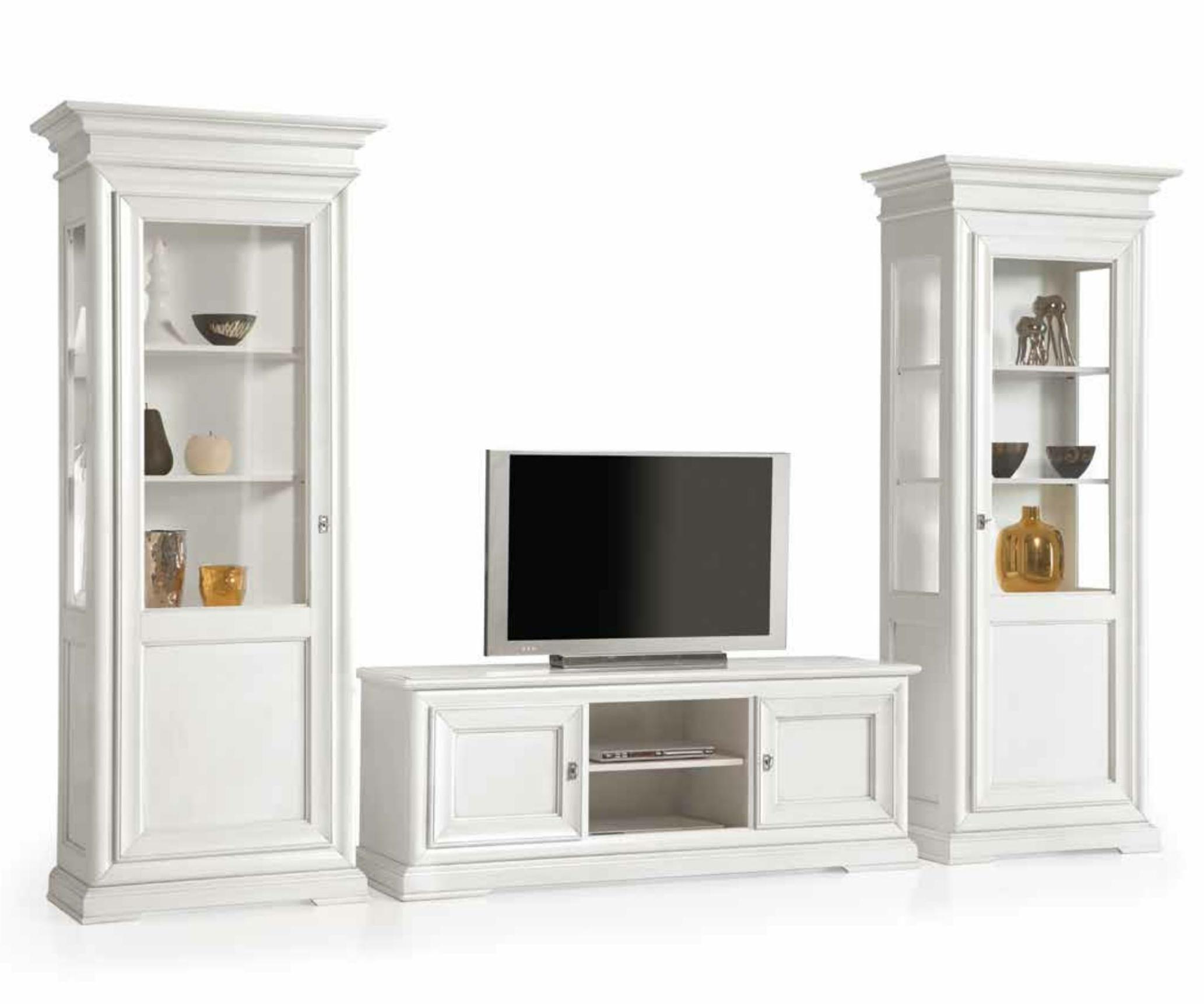 mobili per soggiorno in legno pattinati bianchi