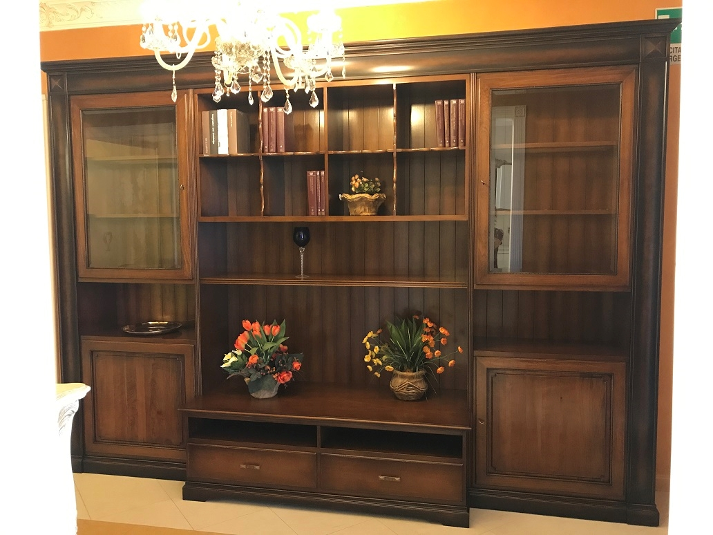 Parete attrezzata classica in legno massello prandina design sottocosto soggiorni a prezzi - Parete attrezzata classica prezzi ...
