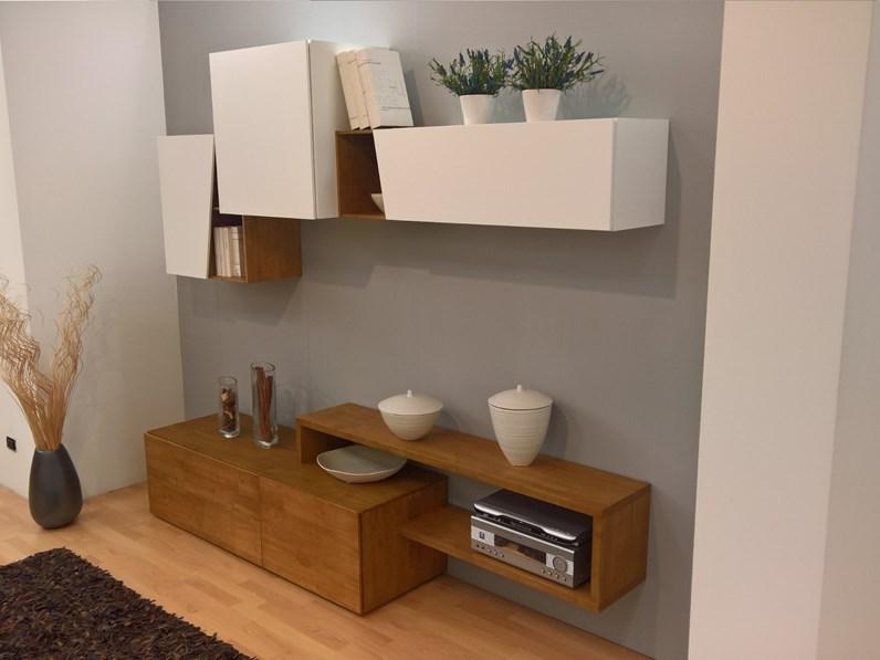 Parete attrezzata Composizione soggiorno legno massello Artigianale con un  ribasso esclusivo