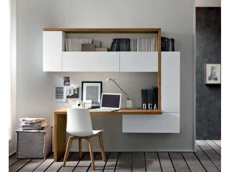 Parete attrezzata con scrittoio cod c75b by fgf mobili in legno - Parete attrezzata con scrivania ...