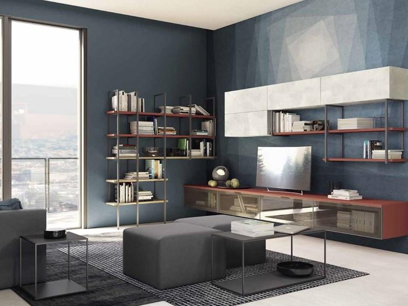 Parete attrezzata in laminato materico stile design for Design soggiorno moderno