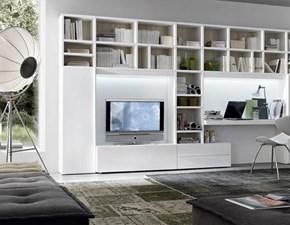 Parete attrezzata in laminato materico stile moderno Mottes mobili composizione logico 23 Artigianale