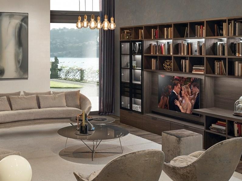 Parete attrezzata in laminato materico stile moderno z709 zalf for Stile moderno
