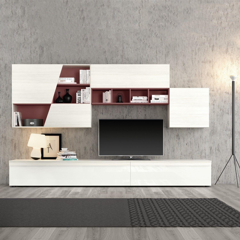 Cavalletti in legno bianchi for Parete soggiorno piccola