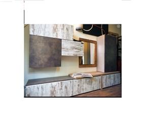 Parete attrezzata  in legno Soggiorno vintage e bronzo a prezzo Outlet