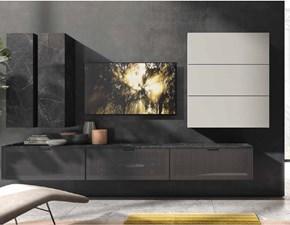 Parete attrezzata  in metallo Soggiorno industrial cemento grey e ferro  a prezzo Outlet
