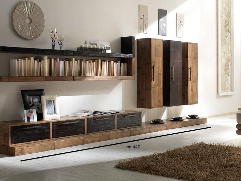 Parete attrezzata in stile design outlet etnico in legno for Mobili outlet design