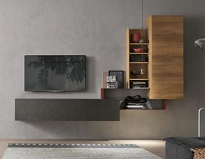 Parete attrezzata in stile design Tomasella in laminato materico Offerta Outlet