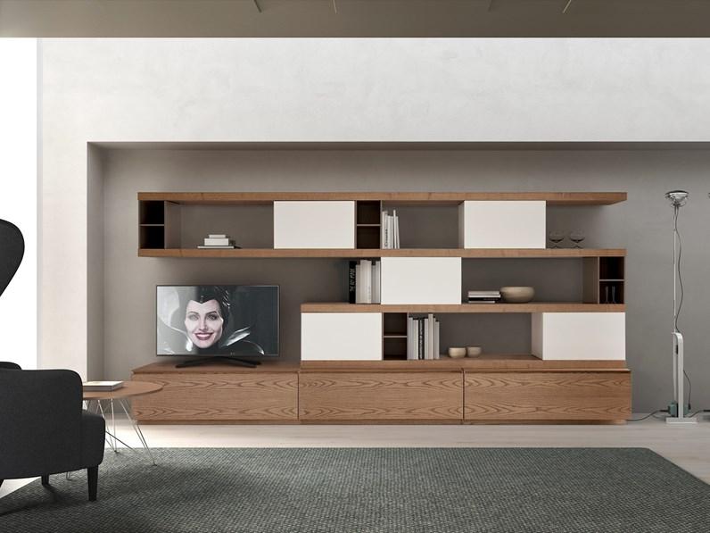 Parete attrezzata in stile moderno Cenedese in legno Offerta Outlet