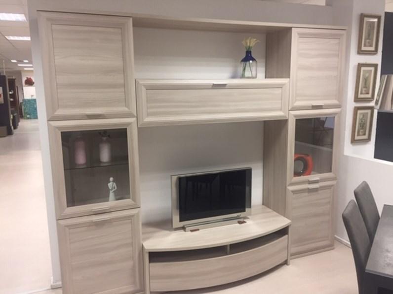 Parete attrezzata in stile moderno gierre mobili in laminato materico offerta outlet - Parete attrezzata ingresso ...