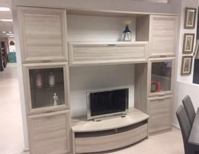 Parete attrezzata in stile moderno Gierre mobili in laminato materico Offerta Outlet