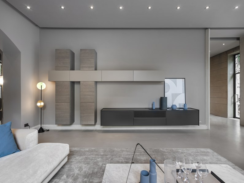 Parete attrezzata in stile moderno Md house in laccato opaco Offerta Outlet