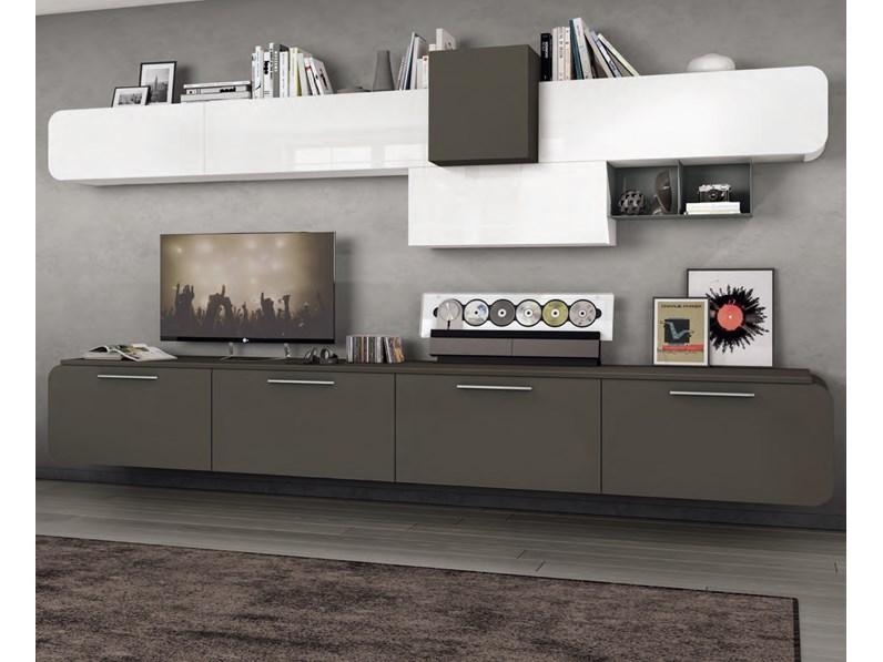 Parete attrezzata Living sospeso Lube cucine in stile design a ...