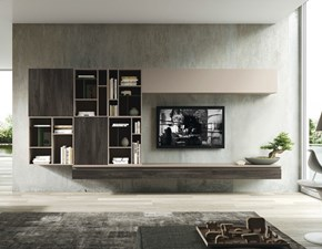 Parete attrezzata Living space Siloma in stile moderno a prezzo ribassato