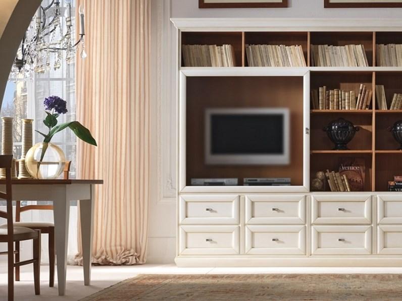 Parete attrezzata Mobile-soggiorno con anta scorrevole scontato del 35%  Artigianale in stile classico a prezzo ribassato