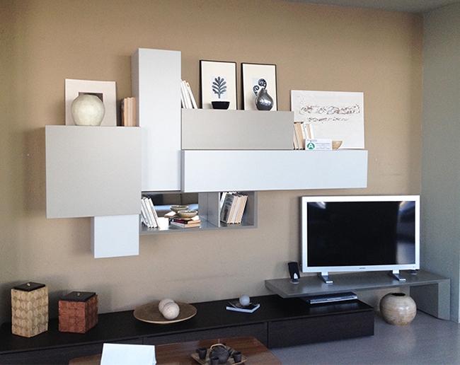 Parete attrezzata moderna pianca soggiorni a prezzi scontati for Parete decorata moderna