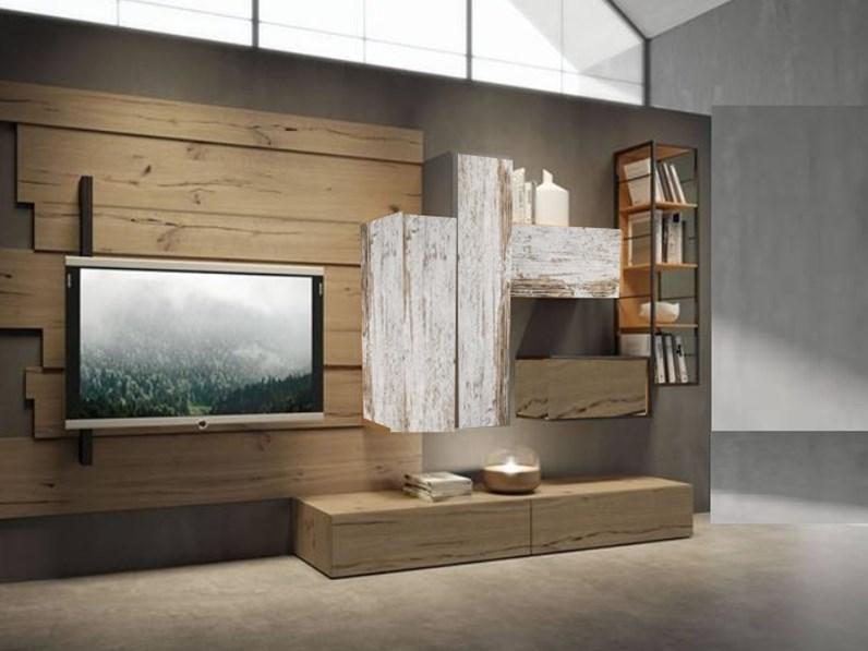 Parete attrezzata Outlet etnico in legno a prezzo Outlet