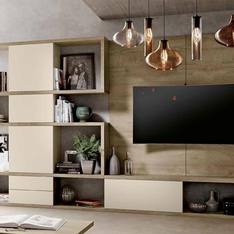 Parete attrezzata per soggiorno con finitura legno, nuova, scontata - Soggior...