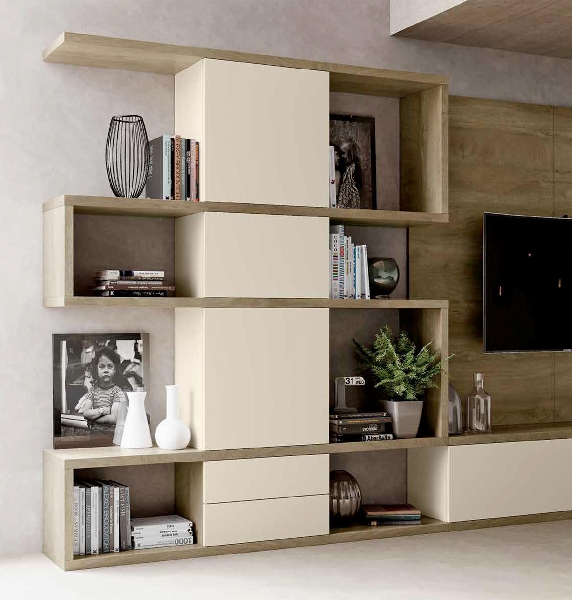 parete attrezzata per soggiorno con finitura legno nuova
