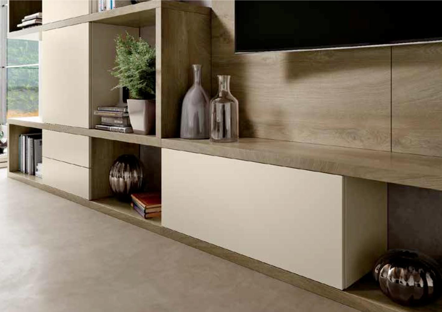 Parete attrezzata per soggiorno con finitura legno, nuova ...