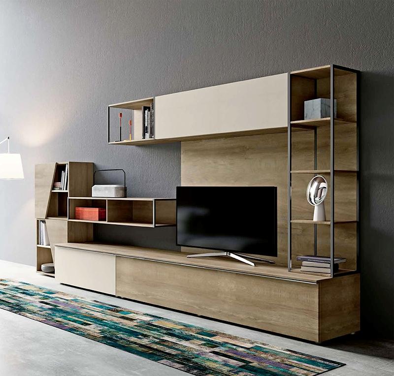 Parete attrezzata per soggiorno con libreria nuova a - Parete attrezzata soggiorno ...