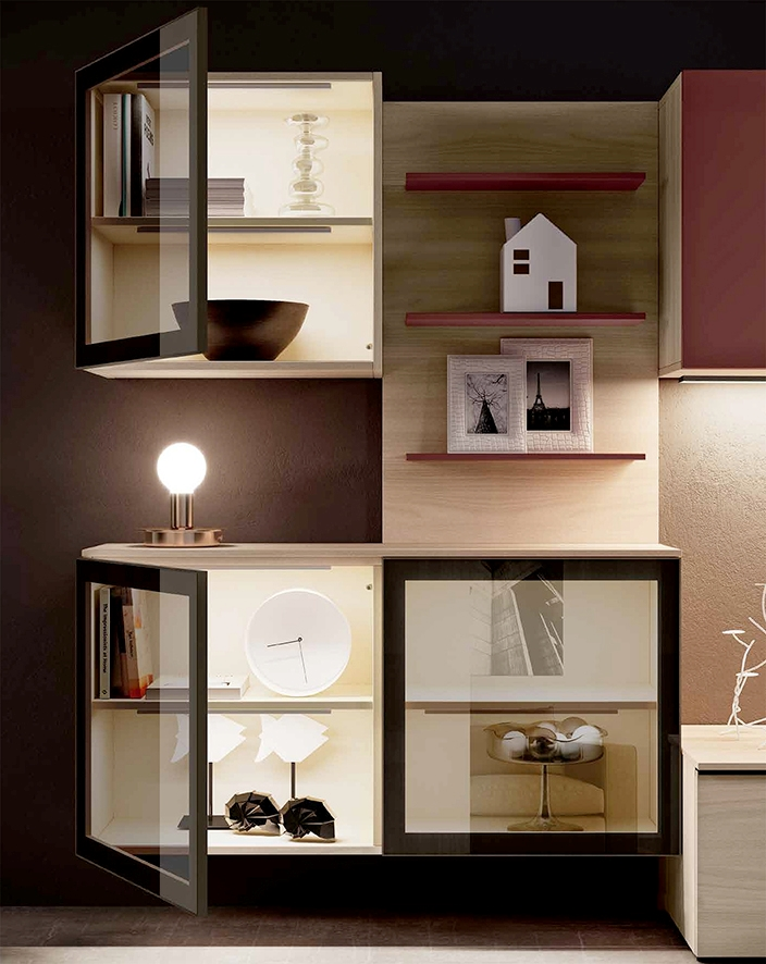 Parete attrezzata per soggiorno con vetrinetta nuova a prezzo scontato soggiorni a prezzi - Parete attrezzata per soggiorno ...