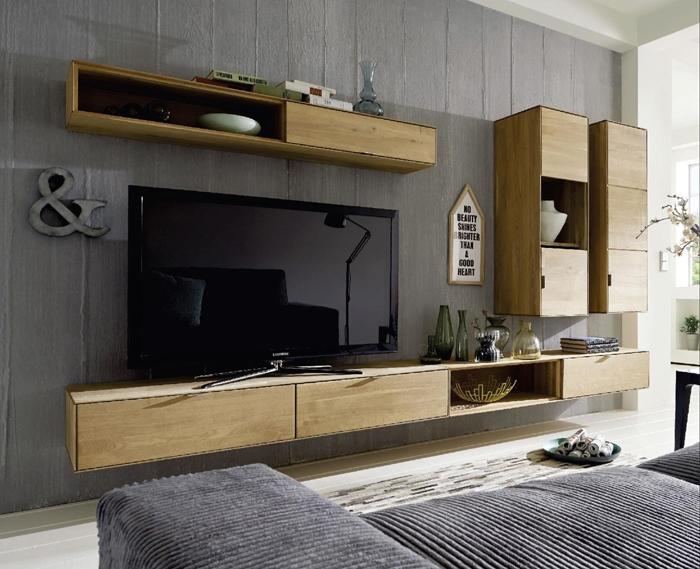 Parete attrezzata soggiorno in legno massello sconto -48% ...