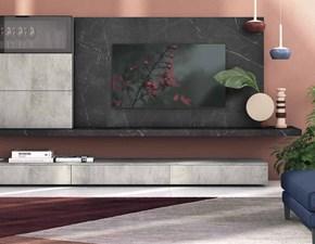 Parete attrezzata Soggiorno industrial minimal cemento  Nuovi mondi  in stile moderno a prezzo ribassato