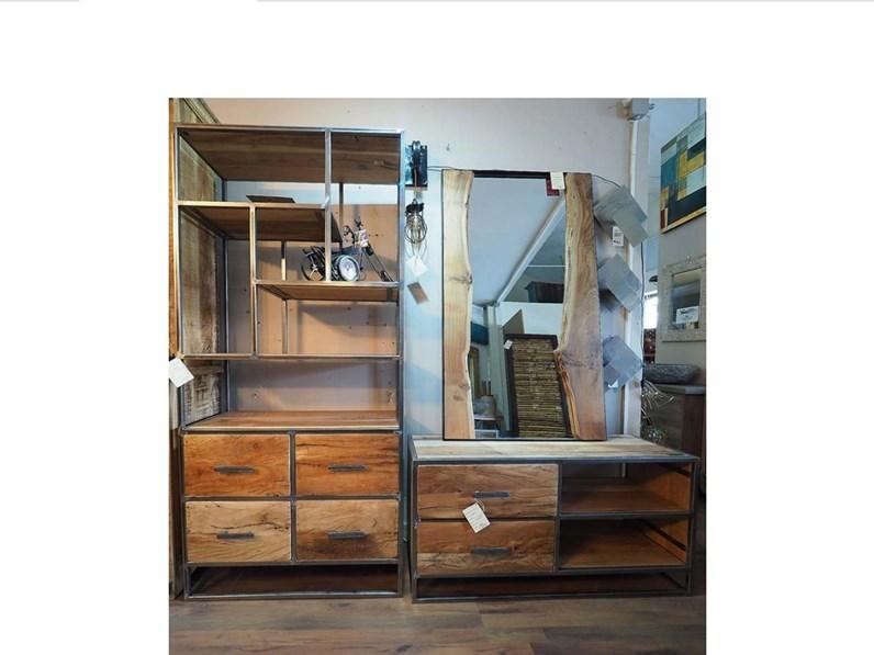 Parete attrezzata Soggiorno industrial Nuovi mondi cucine in legno in  Offerta Outlet