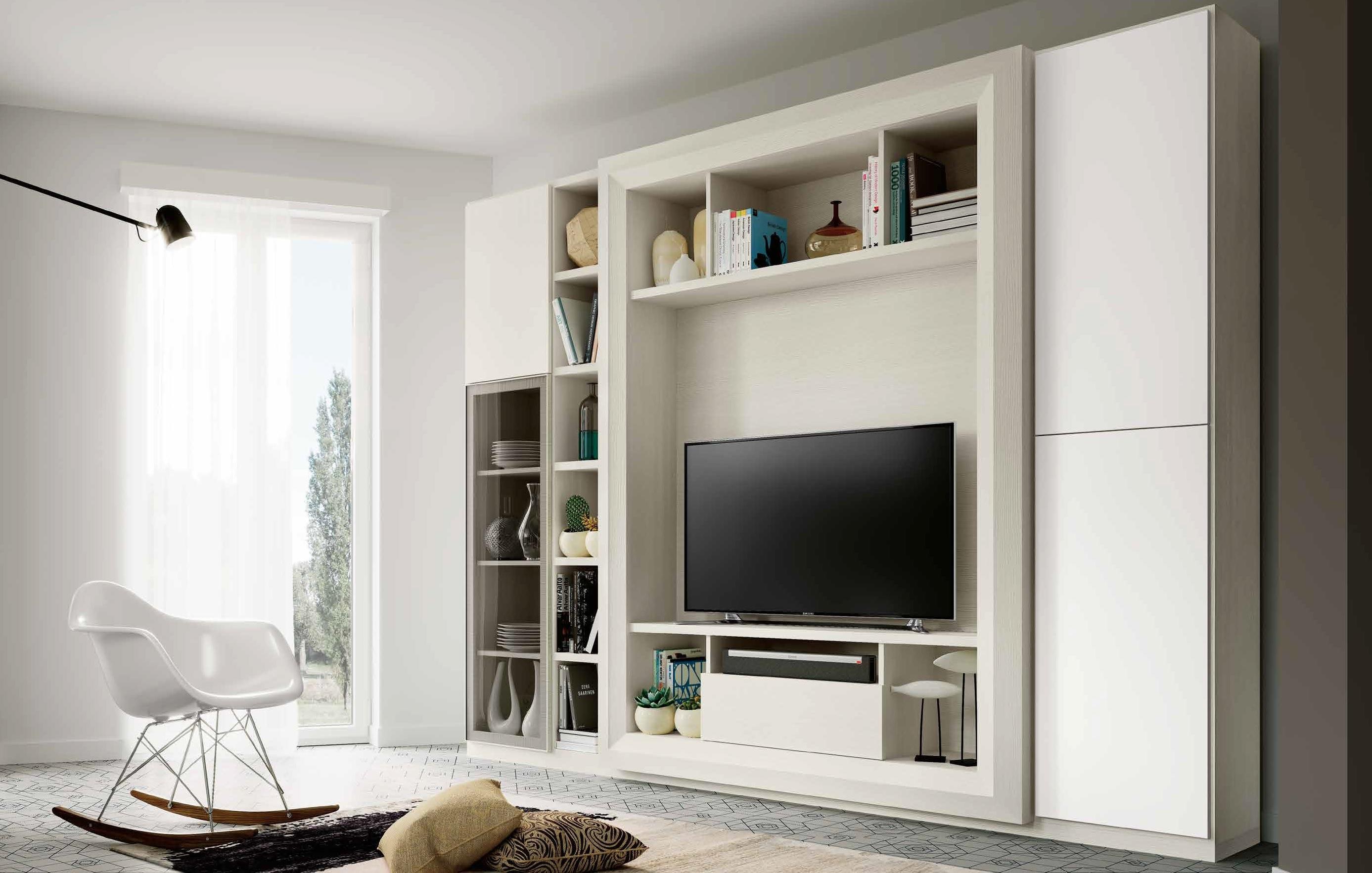 Parete attrezzata soggiorno laccato opaco soggiorni a prezzi scontati - Arredamento parete soggiorno ...