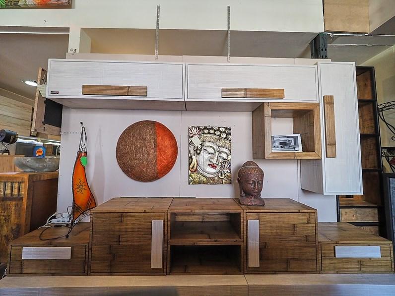 Parete attrezzata soggiorno minimal etnico bambu white e miele outlet etnico in legno in offerta for Etnico outlet