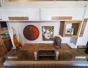 Parete attrezzata Soggiorno minimal etnico bambu white e miele  Outlet etnico in legno in Offerta Outlet