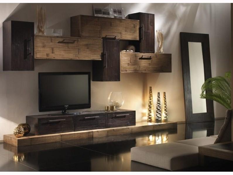 Parete attrezzata soggiorno moderno legno e crash bambu for Immagini soggiorno moderno