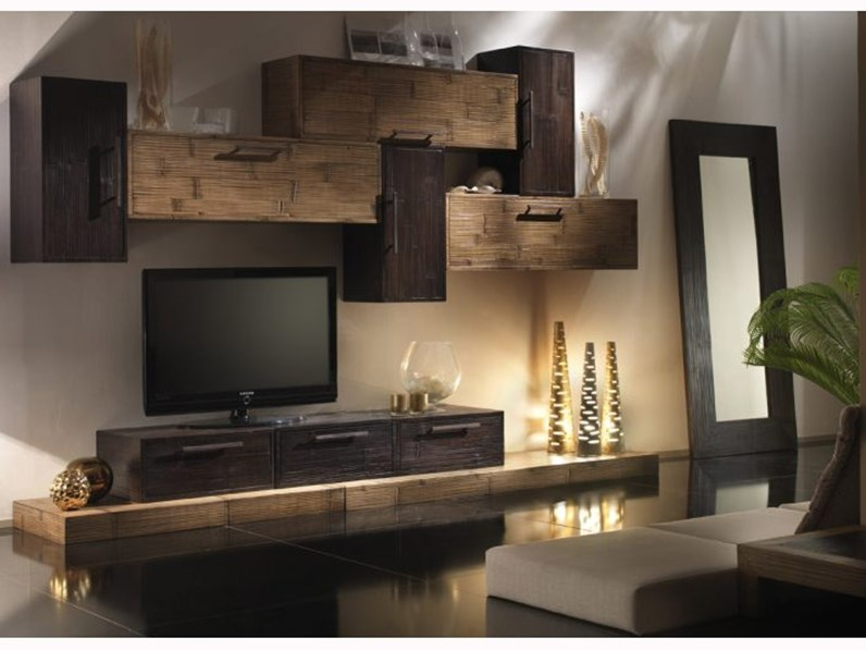 Parete attrezzata Soggiorno moderno legno e crash bambu Nuovi mondi ...