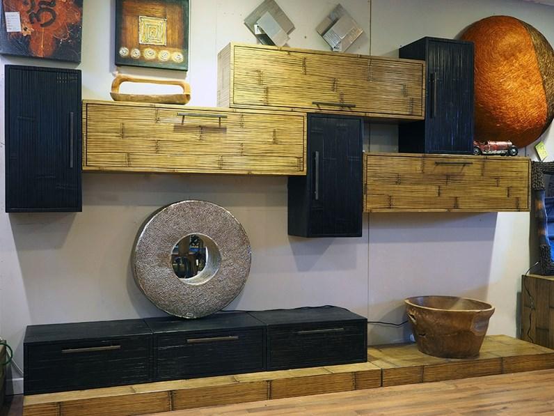 Parete attrezzata Soggiorno moderno legno e crash bambu Nuovi mondi cucine  OFFERTA OUTLET