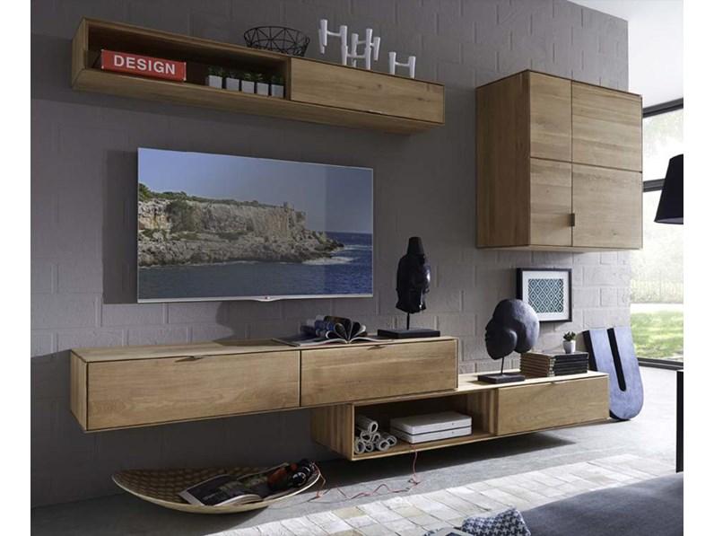 Parete attrezzata TV soggiorno in legno massello di rovere