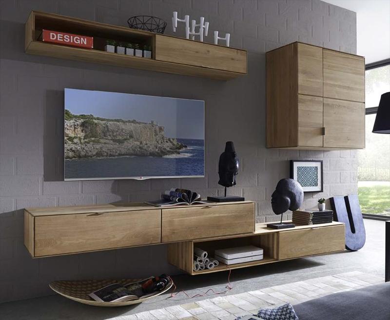 Parete attrezzata TV soggiorno in legno massello di rovere ...