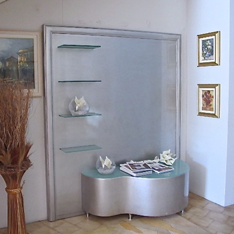 Parete porta tv legno finitura foglia argento soggiorni for Parete argento