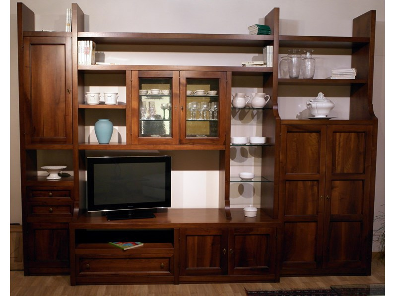 Parete libreria classica artigianale falegnameria for Abitare arredamenti camerette