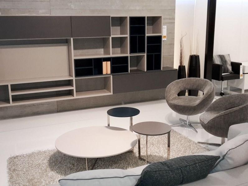 soggiorno Atlante laccato piombo, grigio e petrolio, porta TV con led