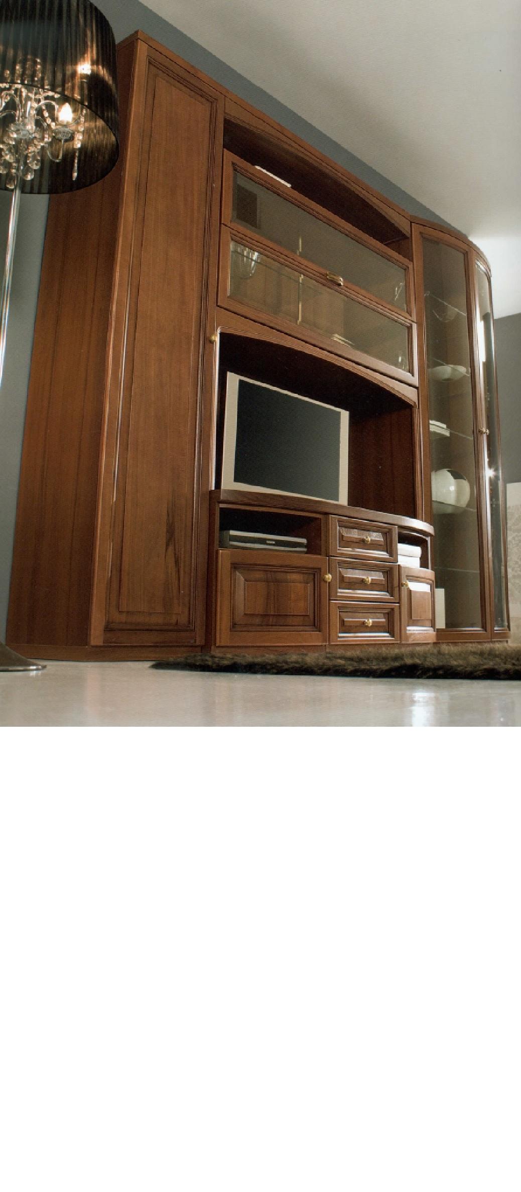 parete soggiorno classica in massello - soggiorni a prezzi scontati - Soggiorno Noce Massello 2
