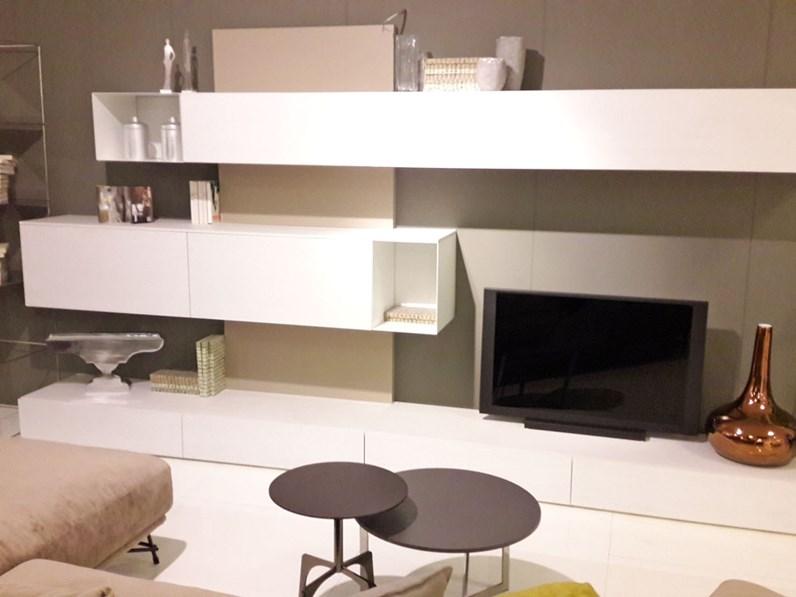 Parete soggiorno componibile frassinato bianco e tortora con vano porta TV  in OFFERTA OUTLET