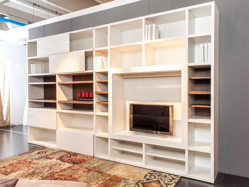 Parete soggiorno con libreria e spazio TV mod.Space di ...